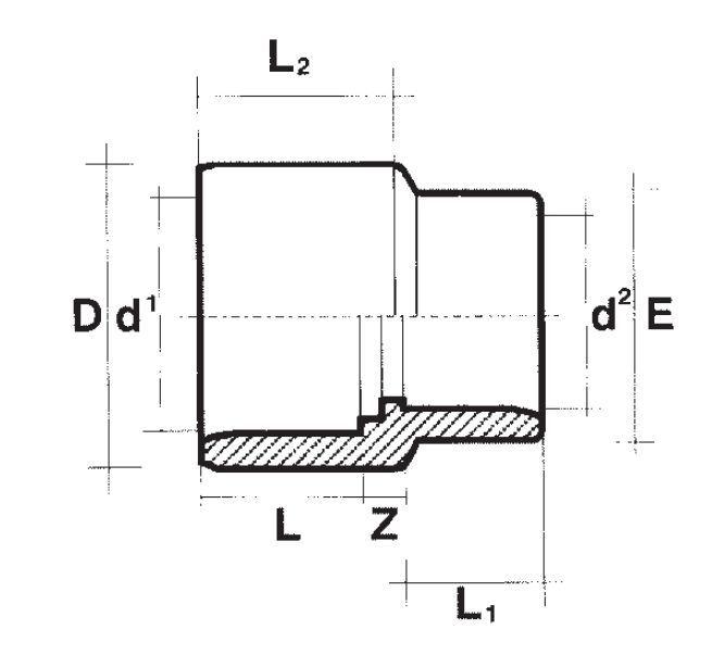 reduziermuffe 63 75 x 50 bis 140 160 x 125 der koi shop gmbh co. Black Bedroom Furniture Sets. Home Design Ideas