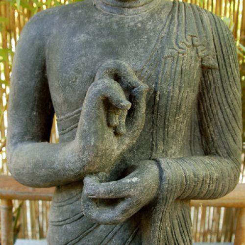 stehender buddha rad der lehre drehend h he ab 50 cm der koi. Black Bedroom Furniture Sets. Home Design Ideas